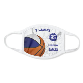 blue white team colors team name basketball face mask
