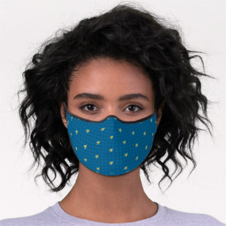 Blue with Gold Houndstooth Premium Face Mask