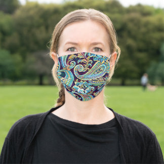 Blue Yellow Dream Vintage Paisley Adult Cloth Face Mask
