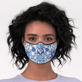 Blue Yellow Mosaic Tiles Mediterranean Premium Face Mask