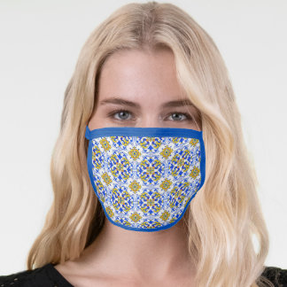 Blue Yellow Portugal Azulejo Wall Mural Pattern Face Mask