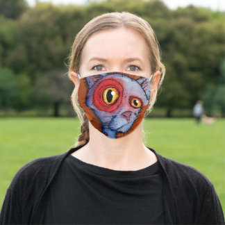 Blue Zombie Cat Adult Cloth Face Mask