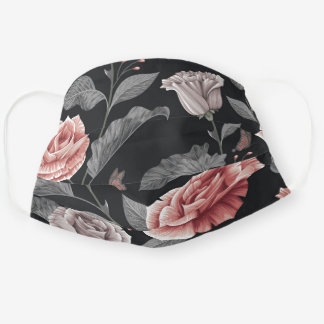 Blush and Gray Vintage Floral Adult Cloth Face Mask