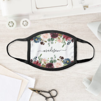 Blush Burgundy & Navy Watercolor Floral Face Mask