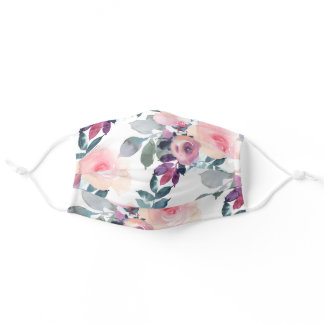 Blush Pink and Purple Watercolor Floral Adult Cloth Face Mask