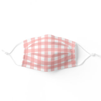 Blush Pink Gingham Check Pattern Adult Cloth Face Mask