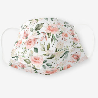 Blush Pink Peach Rose White Hydrangea Peony Floral Cloth Face Mask