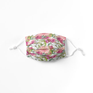 Blush Pink Watercolor Floral Sage Green Leaves Kids' Cloth Face Mask