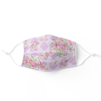 Blush Purple Gingham Trellis Floral Country Adult Cloth Face Mask