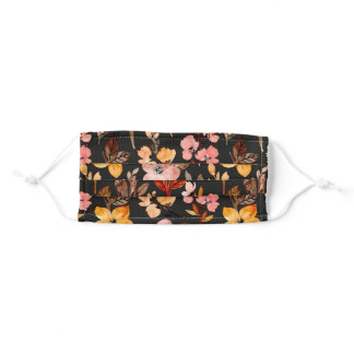 Blush Yellow Wine Fall Autumn Floral Leaves Black  Adult Cloth Face Mask