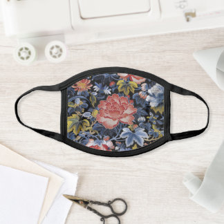 bohemian ethnic coral pink and navy blue floral face mask