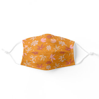 Boho Birds and Flowers Pattern in Orange and Pink  Adult Cloth Face Mask