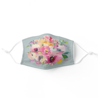 Boho Floral Watercolor on Gray Stylish Adult Cloth Face Mask