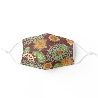 Boho Henna Red Retro Watercolor Paisley Pattern Adult Cloth Face Mask