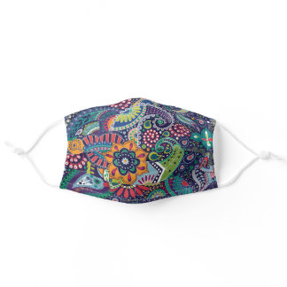 Boho Paisley Pattern Multicolor Woman Adult Cloth Face Mask
