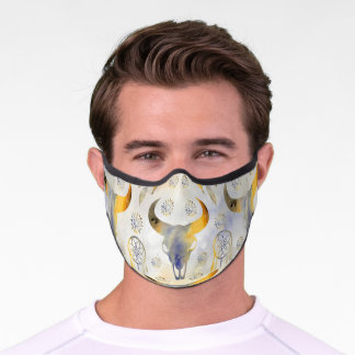 Boho skull and dreamcatcher grey yellow watercolor premium face mask