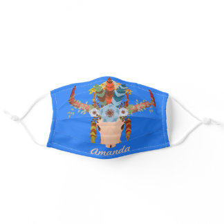 Boho skull with flowers on beautiful blue reusable adult cloth face mask