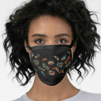 Boho Style Embroidered Colorful Feathers Black Face Mask