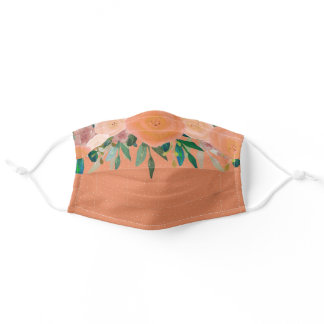 Boho Watercolor Peach Apricot Flowers Foliage Dots Adult Cloth Face Mask