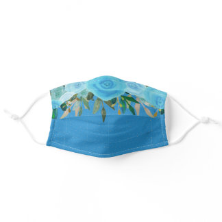 Boho Watercolor Teal Blue Flowers Foliage Dots Adult Cloth Face Mask