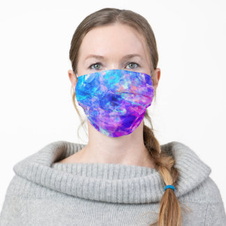 Bold Abstract Teal Rainbow Prism Art Pattern Adult Cloth Face Mask