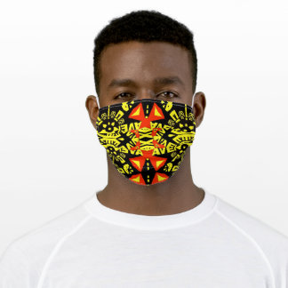 Bold Eye-catching Design Black Yellow Red Adult Cloth Face Mask