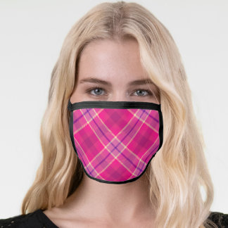 Bold Fun Colorful Pink & Purple Plaid Face Mask