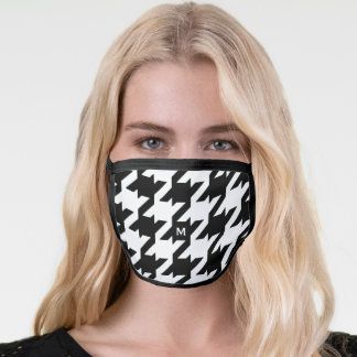 Bold modern monogram black and white houndstooth face mask