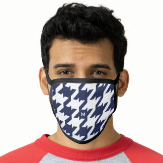 Bold modern monogram blue and white houndstooth face mask