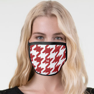 Bold modern monogram red and white houndstooth face mask