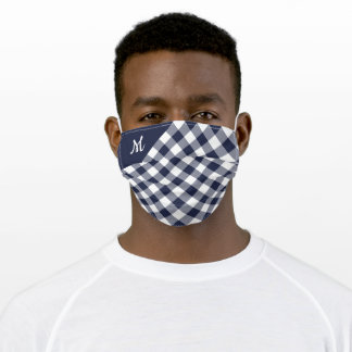 Bold Navy Blue White Buffalo Check with Monogram Adult Cloth Face Mask