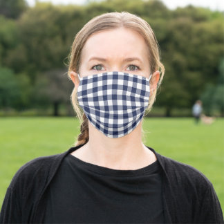 Bold Navy Blue White Gingham Check Pattern Adult Cloth Face Mask
