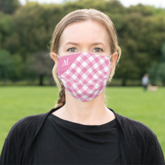 Bold Pink and White Buffalo Check with Monogram Adult Cloth Face Mask