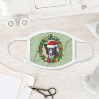 Border Collie dog Christmas face mask