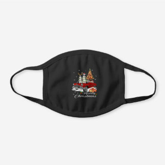 Border Collie on Red Truck Christmas Black Cotton Face Mask