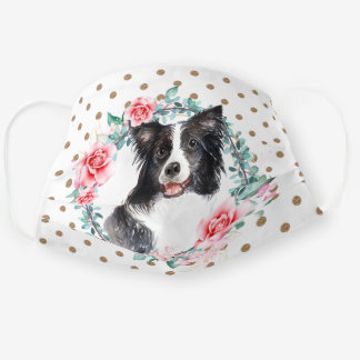 Border collie watercolor rose wreath polka dot cloth face mask