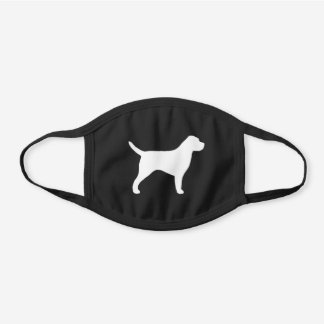 Border Terrier Dog Breed Silhouette Black Cotton Face Mask