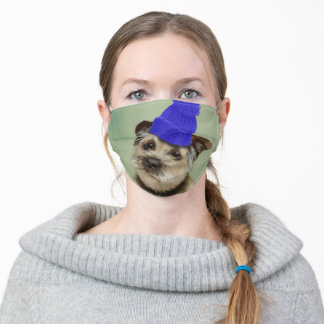 Border Terrier with Blue Bobble Hat Adult Cloth Face Mask