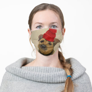 Border Terrier with Red Bobble Hat Adult Cloth Face Mask