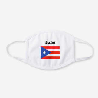 Boricua Banderas Puerto Rican Flag 4Juan White Cotton Face Mask