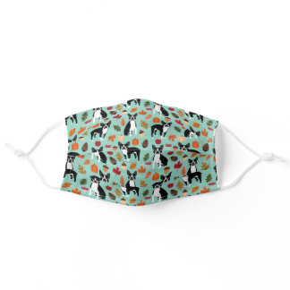 Boston Terrier Autumn Leaves Adult Cloth Face Mask
