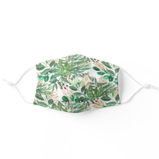 Botanical Greenery Leaf Watercolor Pattern Pretty Adult Cloth Face Mask