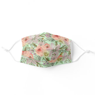 Botanical Pink and Green Watercolor Flowers Cloth Adult Cloth Face Mask