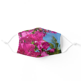 Bougainvillea and Palm Tree Tropical Nature Scene Adult Cloth Face Mask