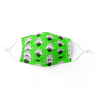 Bowling Ball Strike on lime green Adult Cloth Face Mask