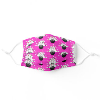 Bowling Ball Strike on pink Adult Cloth Face Mask