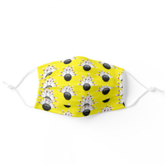 Bowling Ball Strike on yellow Adult Cloth Face Mask