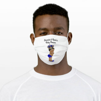 Boy Baby Shower Royal Blue Crown Cloth Face Mask