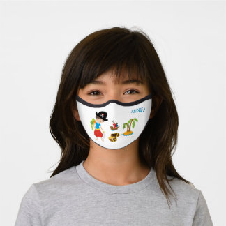 Boy Pirate with Treasure and Parrot Kids Premium Face Mask
