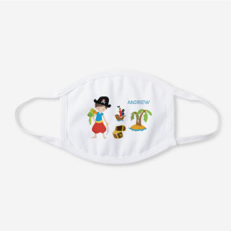 Boy Pirate with Treasure and Parrot White Cotton Face Mask